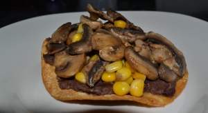 mushroom bean on tostada